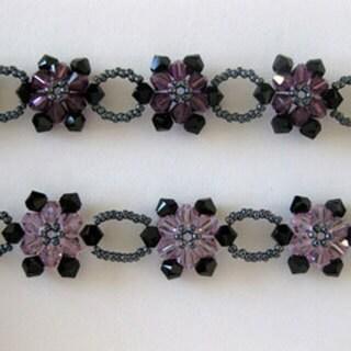 Handmade Stainless Steel Crystal Purple Sunflower Choker (USA)