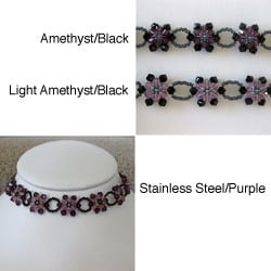 Stainless Steel Crystal Purple Sunflower Choker (USA)