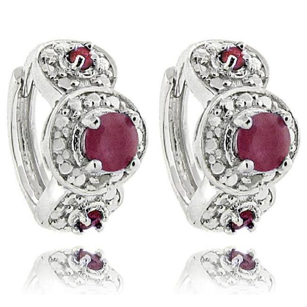 Dolce Giavonna Sterling Silver Ruby and Diamond Accent Hoop Earrings