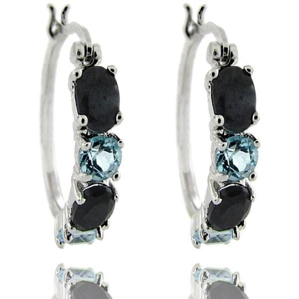 Dolce Giavonna Sterling Silver Sapphire and Blue Topaz Hoop Earrings