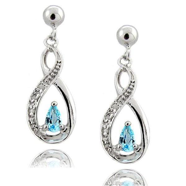 Dolce Giavonna Sterling Silver Blue Topaz and Diamond Accent Swirl Drop Earrings