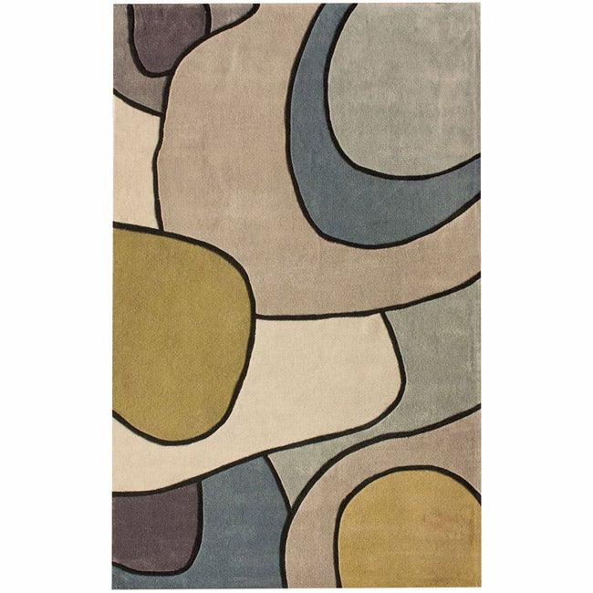 nuLOOM Handmade Pino Contour Map Pattern Blue/ Grey Rug (7'6 x 9'6)
