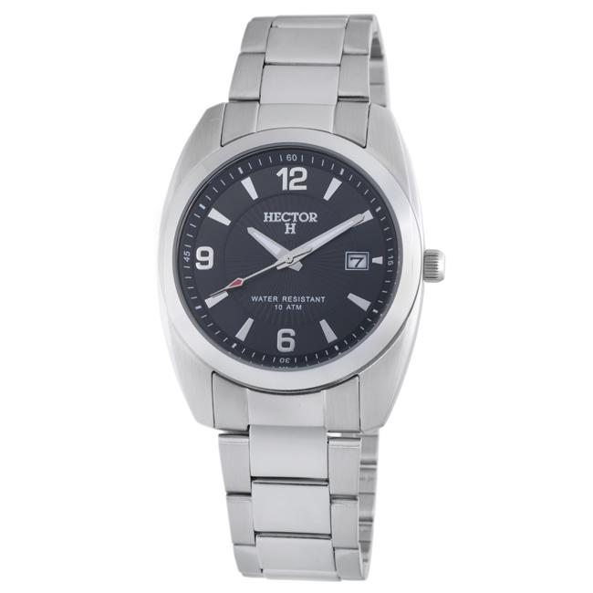 Hector H France Men's 'Fashion' Black-Dial Quartz Watch with Stainless-Steel Band