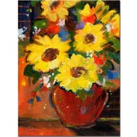 Sheila Golden 'Sunflowers with Red Bowl' Canvas Art