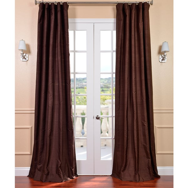 Exclusive Fabrics Signature Chocolate Textured Silk Curtain Panel