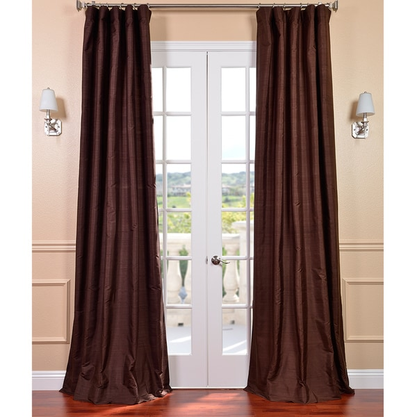 Exclusive Fabrics Signature Chocolate Textured Silk 108-inch Curtain Panel