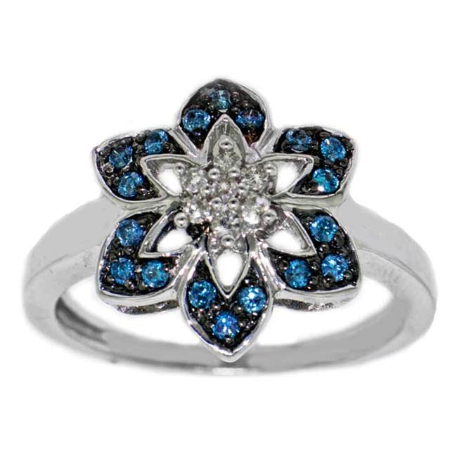 Sterling Silver 1/4ct TDW Blue and White Diamond Flower Cocktail Ring