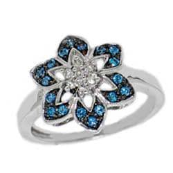 Sterling Silver 1/4ct TDW Blue and White Diamond Flower Cocktail Ring - Thumbnail 1