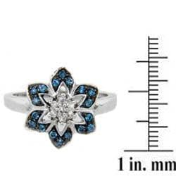 Sterling Silver 1/4ct TDW Blue and White Diamond Flower Cocktail Ring - Thumbnail 2