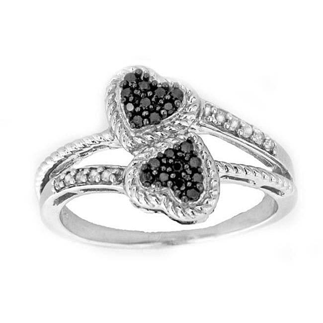 Sterling Silver 1/4ct TDW Black and White Diamond Double Heart Ring