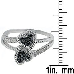 Sterling Silver 1/4ct TDW Black and White Diamond Double Heart Ring - Thumbnail 2