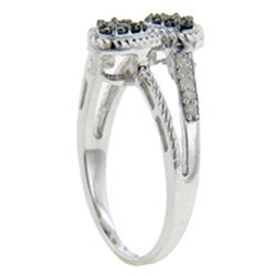 Sterling Silver 1/4ct TDW Black and White Diamond Double Heart Ring - Thumbnail 1