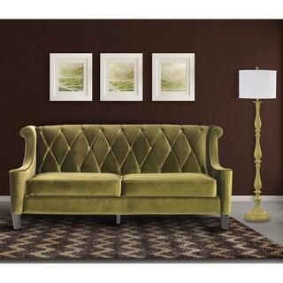 Armen Living Barrister Modern Green Velvet Sofa