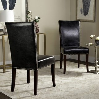 Safavieh En Vogue Dining Metro Leather Black Dining Chairs (Set of 2)