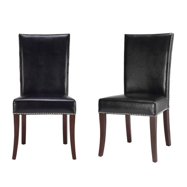 Safavieh En Vogue Dining Metro Leather Black Side Chairs (Set of 2)
