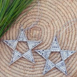 Set of 2 Recycled Paper Natural Star Christmas Ornaments (Thailand)