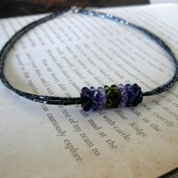 Stainless Steel Purple Crystal Pendant Necklace