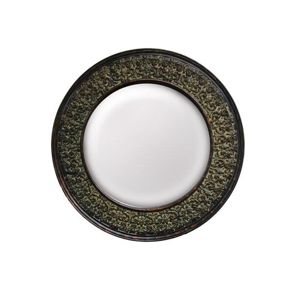 Round Framed Dark Gold Wall Mirror
