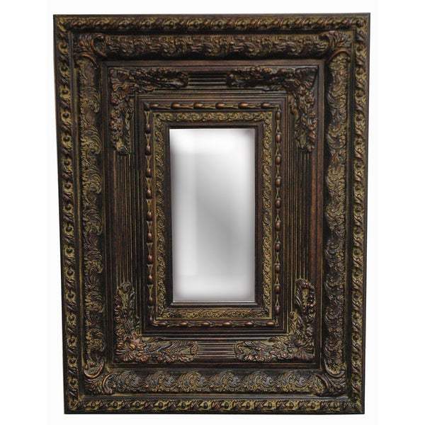Rectangular Framed Dark Gold Wood Decor Piece