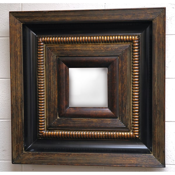 Square Framed Dark Gold Wood Decorative Wall Mirror Free