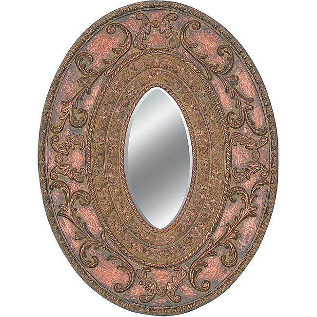 Oval Framed Dark Gold Wall Mirror