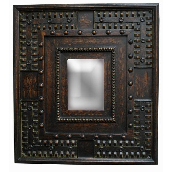 Rectangular 8 x 11 Framed Copper Gold Wall Mirror