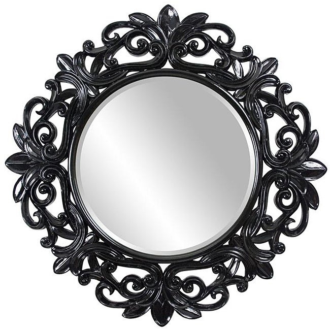 Round framed glossy black wall mirror free shipping for Round black wall mirror