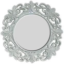 Round Framed Glossy White Wall Mirror - Thumbnail 0