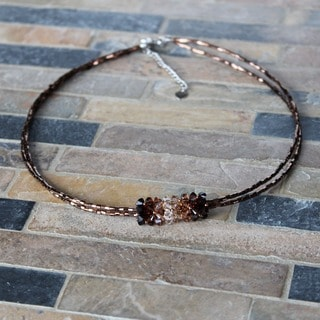 Stainless Steel Brown Crystal Pendant Necklace (USA)