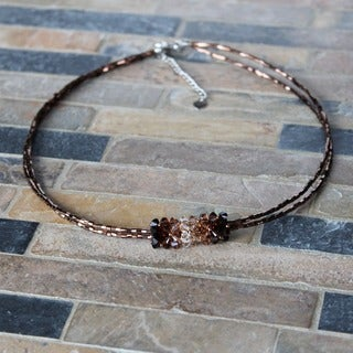 Handmade Stainless Steel Brown Crystal Pendant Necklace (USA)