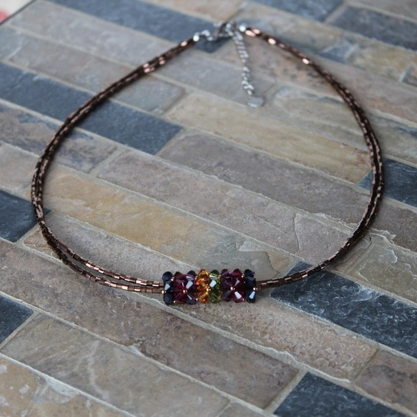 Handmade Stainless Steel Multicolor Crystal Pendant Necklace (USA)