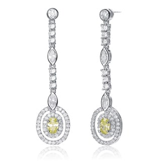 Collette Z Sterling Silver Lime and Clear Cubic Zirconia Drop Earrings