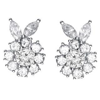 Collette Z Sterling Silver Cubic Zirconia Flower Stud Earrings