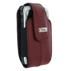 BlackBerry Curve Red Leather Swivel Holster - Thumbnail 1
