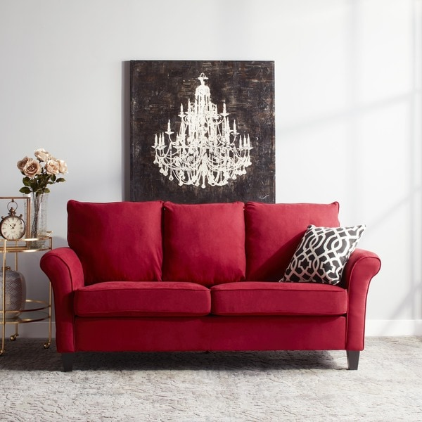 Portfolio Provant SoFast Flared Arm Crimson Red Microfiber Sofa
