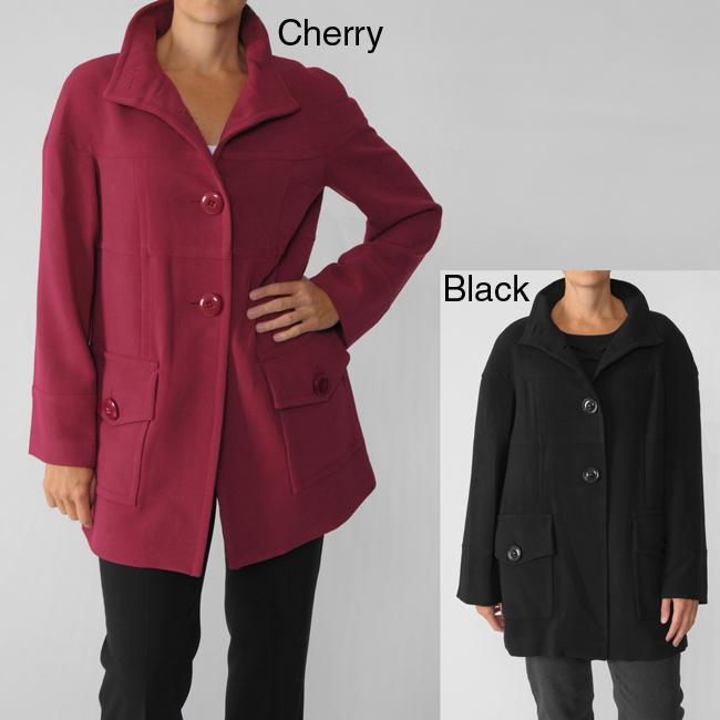 Focus 2000 Women's Single-breasted Stand Collar Coat