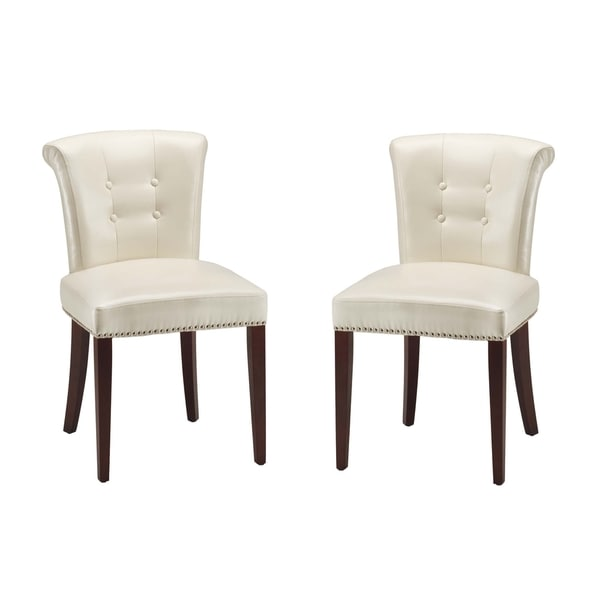 Safavieh En Vogue Dining Parker Cream Leather Dining Chairs (Set of 2)
