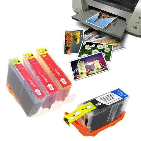 5-piece Canon BCI-3e Compatible Black/ Color Ink with Photo Paper