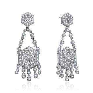 Collette Z Sterling Silver Cubic Zirconia Art Deco Vintage-style Chandelier Earrings