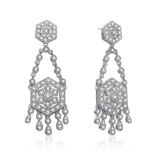 Collette Z Sterling Silver Cubic Zirconia Art Deco Vintage Style Chandelier Earrings
