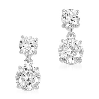 Collette Z Clear Cubic Zirconia Double Drop Earrings