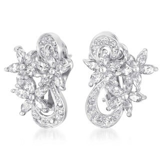Collette Z Sterling Silver Clear Cubic Zirconia Marquise Flower Earrings