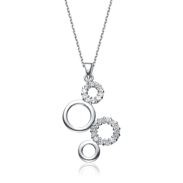 Collette Z Sterling Silver Clear Cubic Zirconia Bubble Circle Necklace