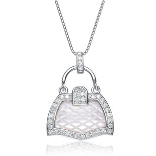 Collette Z Sterling Silver Mother of Pearl and Cubic Zirconia Handbag Necklace
