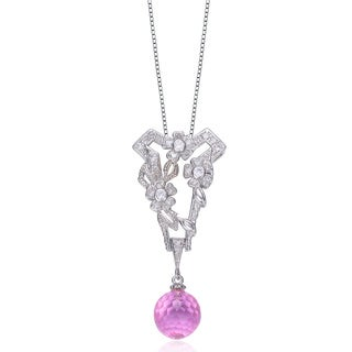Collette Z Sterling Silver Pink Briolette Cubic Zirconia Flower Necklace
