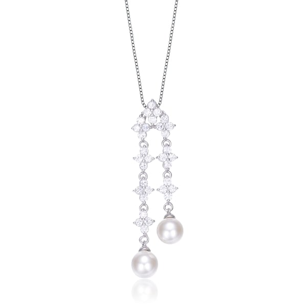 Collette Z Sterling Silver Faux Pearl and Cubic Zirconia Triple Flower Necklace