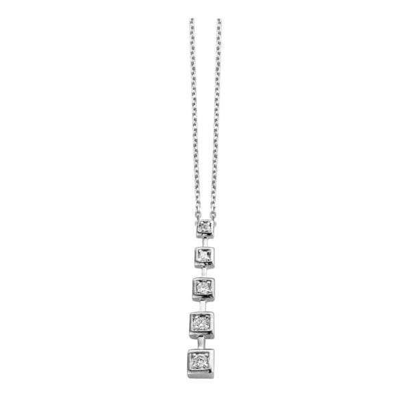 Collette Z Sterling Silver Clear Cubic Zirconia Square Journey Necklace