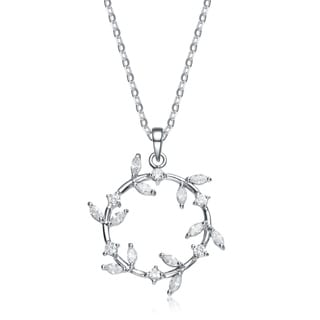 Collette Z Sterling Silver Clear Cubic Zirconia Wreath Necklace