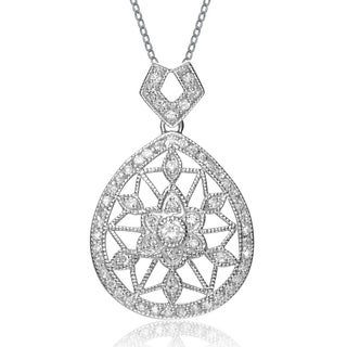 Collette Z Sterling Silver Clear Cubic Zirconia Lacy Flower Teardrop Necklace