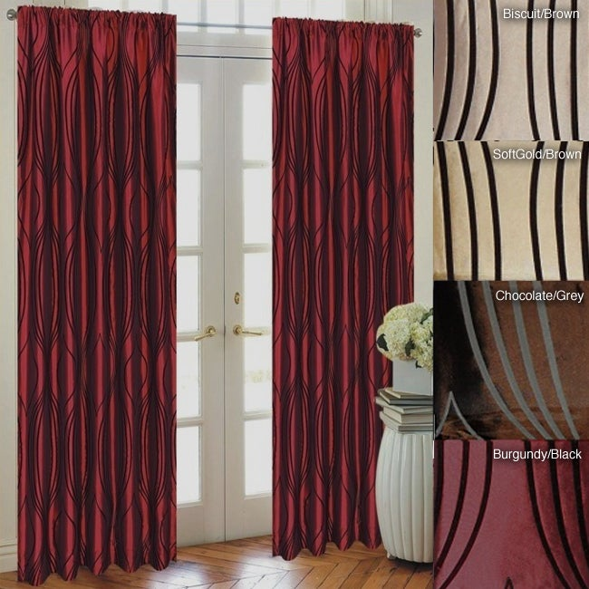 Lambrequin Fusion Flocked Taffeta 96-inch Curtain Panel